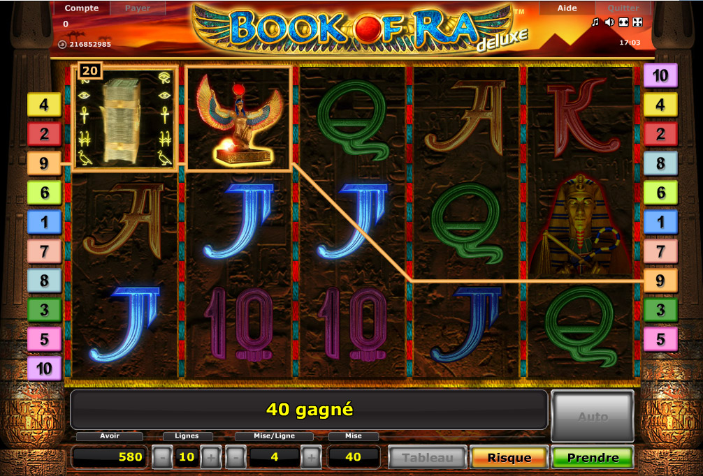 Machine à sous Book of Ra gratuit dans Novoline casino