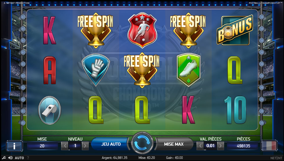 Football Champions Cup Free Spins France