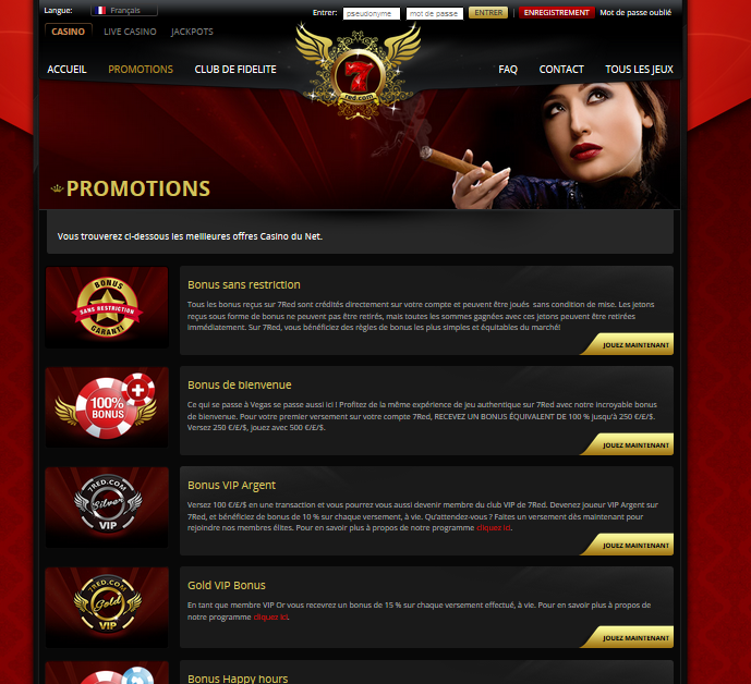 Bonus 7Red – Promotions Casino en Ligne